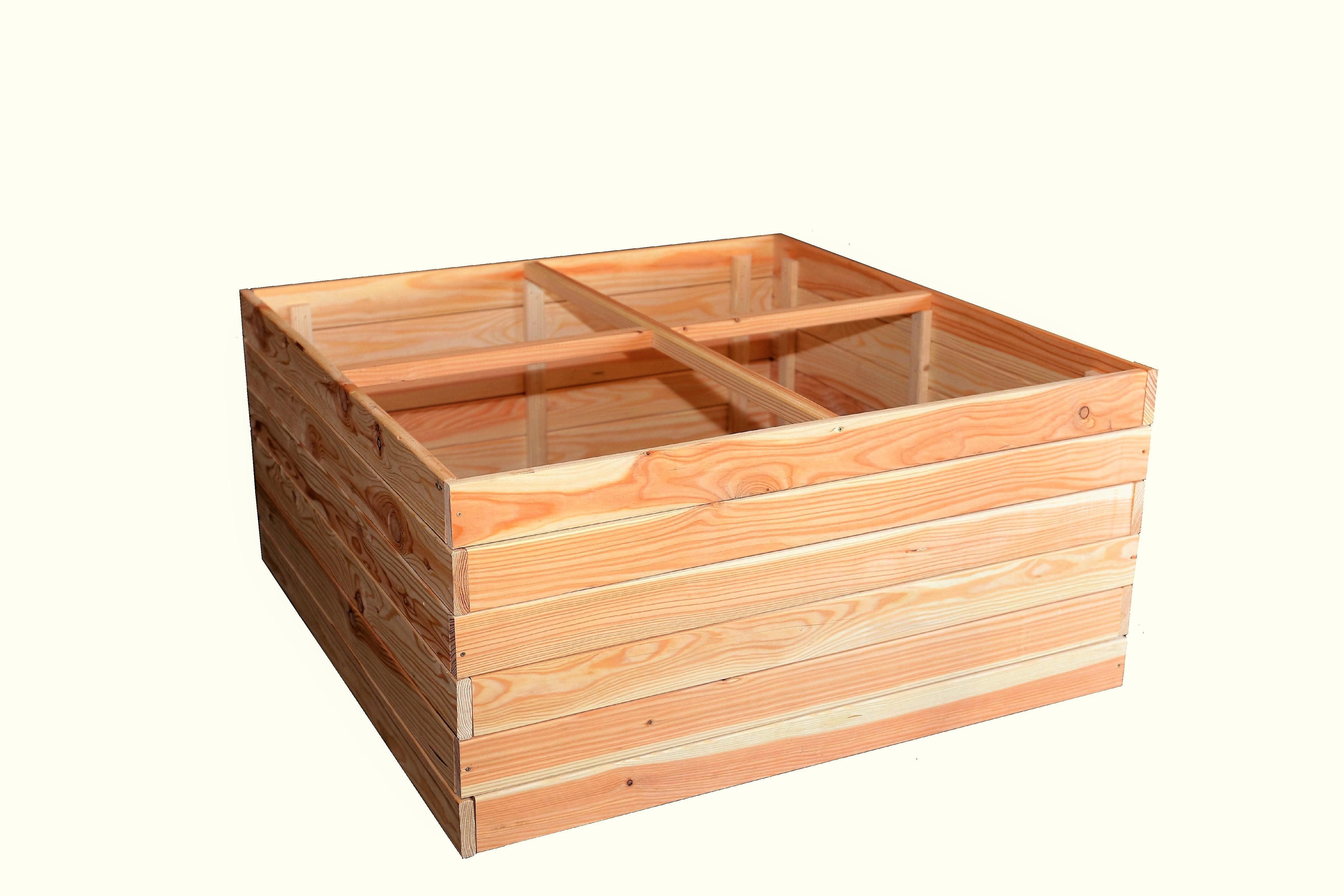 hoq hochbeet 100x100x48 cm aus 18 mm l rchenholz mit. Black Bedroom Furniture Sets. Home Design Ideas